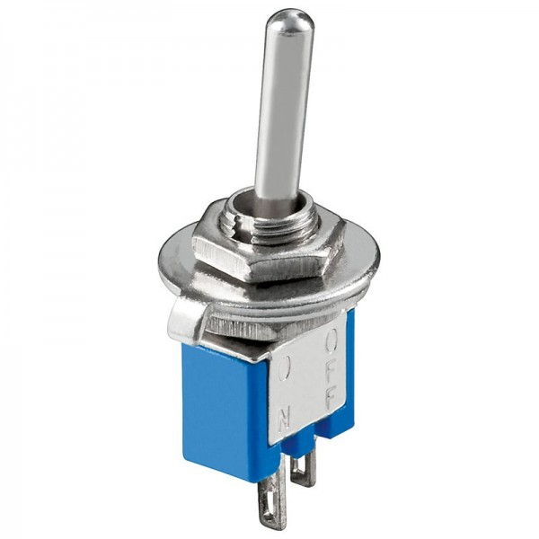 Toggle switch Subminiature ON-OFF, 2 stifter, blå krop