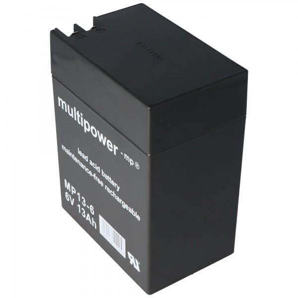 Multipower blybatteri MP13-6 med 4,8 mm og 6,3 mm stikkontakt
