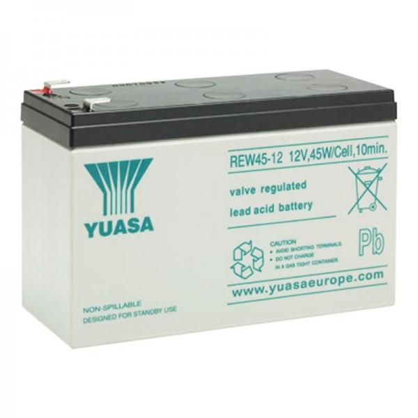 Yuasa REW45-12 genopladeligt batteri fører høj strøm 12V med 8Ah, faston 6.3mm stik kontakter