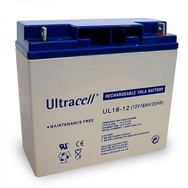 UL18-12 Ultracell Bly Batteri 12 Volt, 18Ah med M5 tråd