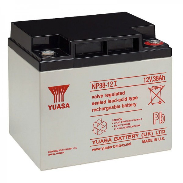 Yuasa NP38-12I blybatteri med M5 tråd, 12 volt, 38Ah