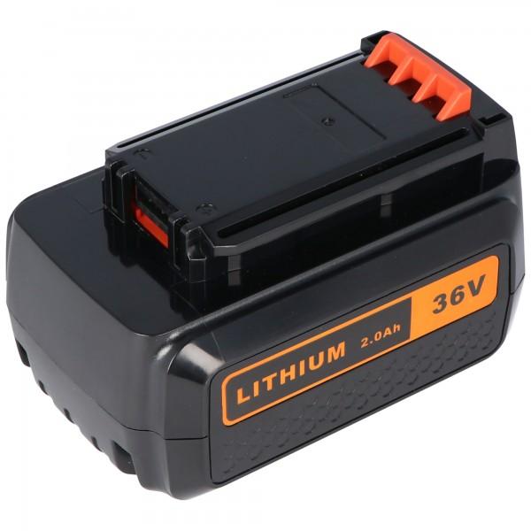 Batteri passer til Black & Decker BL2036, BL2036L, CLM3820L1 / L2, GLC3630L, GLC3630L / L20, GTC3655L, GTC3655L / L20, GWC3600L, GWC3600L / L20 36 Volt 2000mAh