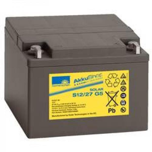 Solskin Solar S12 / 27G5 batteri ledning 12Volt 27Ah