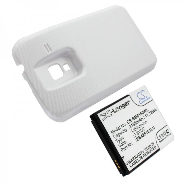Batteri passer til Samsung Galaxy Ace 2, GT-I8160, GT-I8160P 3100mAh med hvid låg