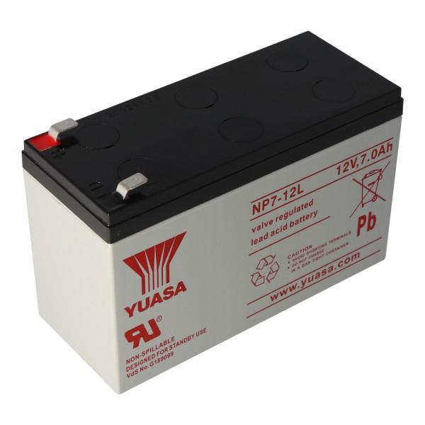 YUASA NP7-12L Batterilad PB 12 Volt 7000mAh med 6.3mm kontakter