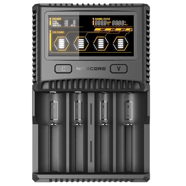Nitecore SC4 Fast Charger passer næsten ethvert Li-ion, NiMH og LiFEPO4 batteri