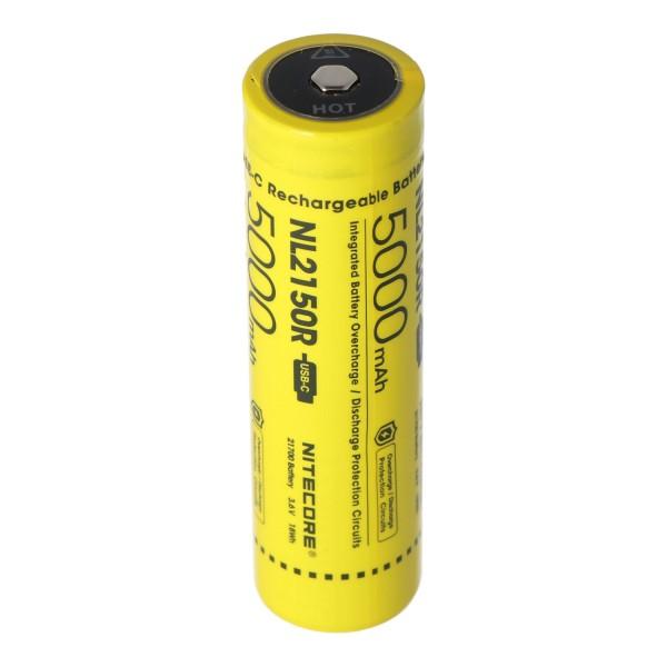 Nitecore Li-Ion-batteri type 21700 - 5000mAh NL2150R med integreret USB-stik