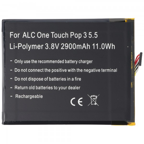 Batteri passer til Alcatel One Touch Pop 3 5.5, OT-5025, TLp029A1, CAC2910008C1