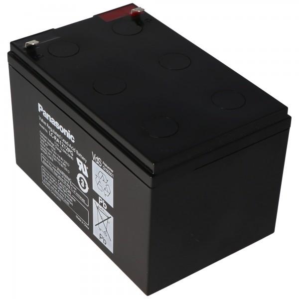 Panasonic LC-RA1212PG 12 Volt 12Ah blybatteri med 4,8 mm stikkontakter