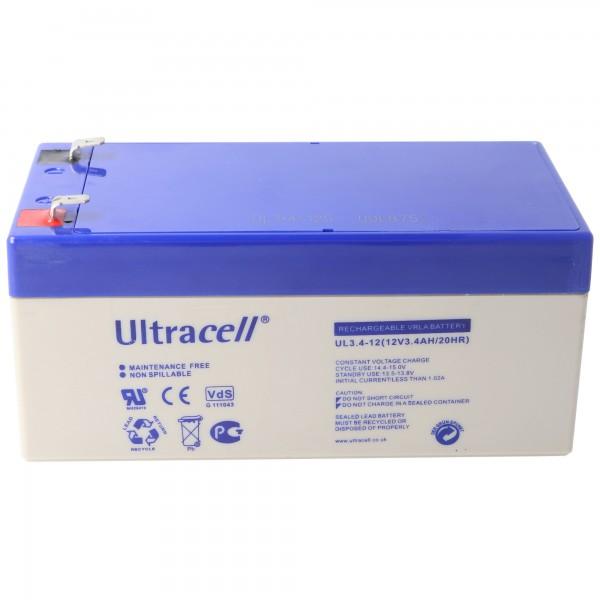 UL3.4-12 Ultracell Bly Batteri 12 Volt, 3.4Ah