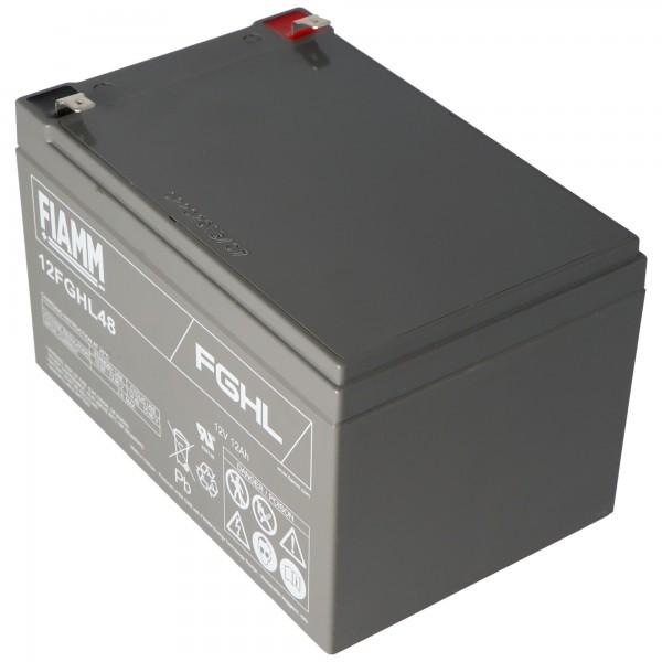 Fiamm 12FGHL48 bly PB batteri 12 Volt 12000mAh med Faston 6.3mm kontakter