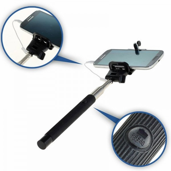 Selfie Maker med klemme, teleskopisk forlænges med udløserhoved til Smartphone og ActionCam
