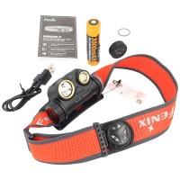 Fenix HM65R-T forlygte, genopladelig LED-forlygte med maks. 1300 lumen, opladning via USB-C, inklusive Fenix ARB-L18-3500 batteri
