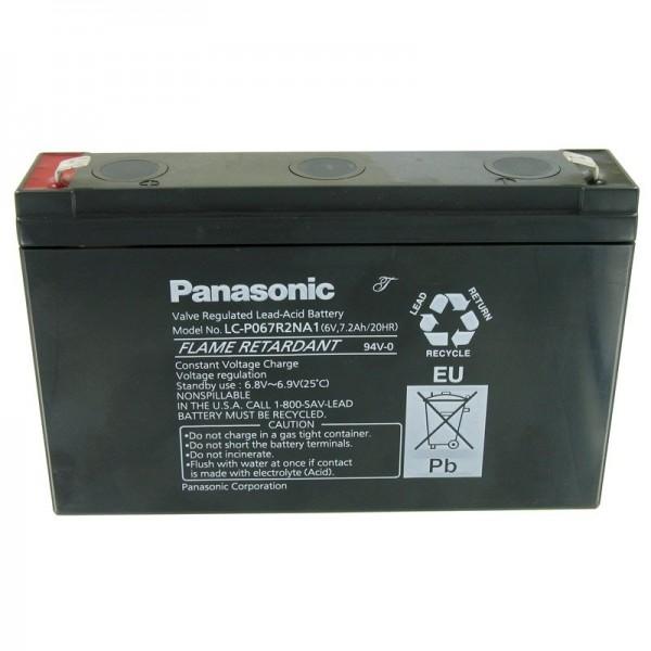 Panasonic LC-P067R2NA1 Blybatteri med 6 Volt og 7200mAh, 6,3mm Faston