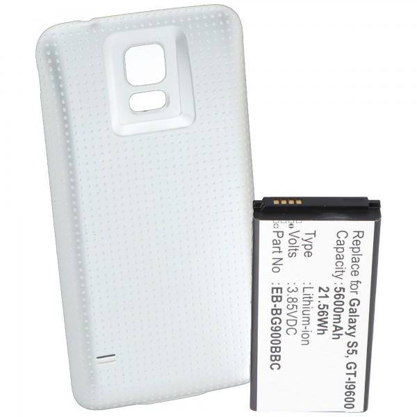 Batteri til Samsung Galaxy S5, GT-I9600, GT-I9602, 5600mAh med hvidt cover