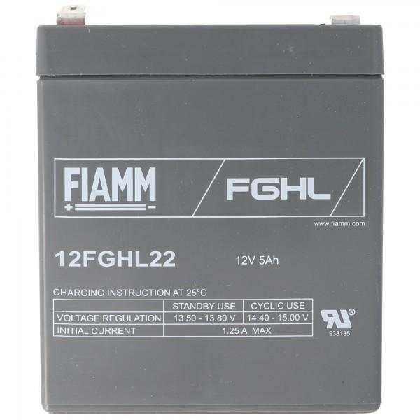 Fiamm 12FGHL22 blybatteri 12 volt 5Ah, faston 6.3mm stikkontakt