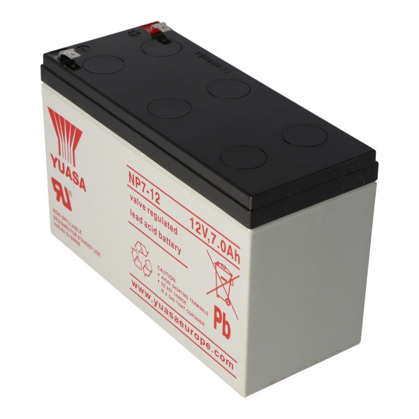 YUASA NP7-12 Batteri NPW36-12 Bly PB 12 Volt 7000mAh med 4.8mm kontakter