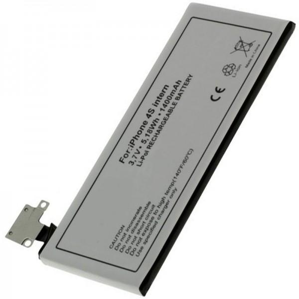 AccuCell batteri passer til Apple iPhone 4S batteri, 616-0579, GB-S10-423282-0100, 1400mAh