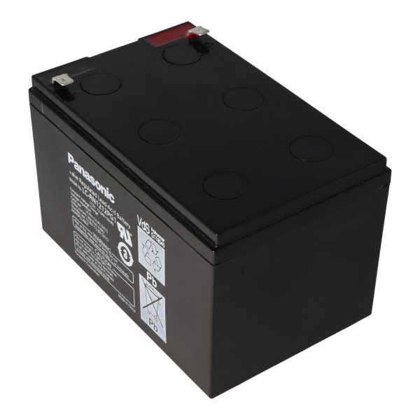 Panasonic LC-RA1212PG1 batteri 12 volt 12Ah stik kontakter 6.3mm