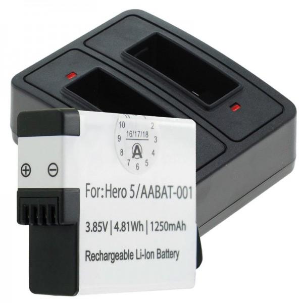 Batteri og dobbelt oplader egnet til GoPro Hero5, Hero 5 Black, AABAT-001