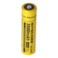 Nitecore Li-ion batteri 18650, 3,7 Volt med 3500mAh NL1835, udladningsstrøm max. 2Ah, dimensioner omkring 69,3 x 18,3 mm