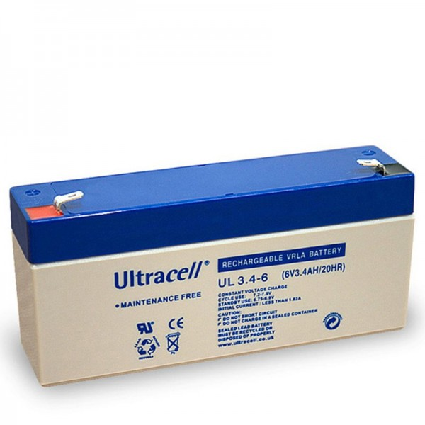 Ultracell UL 3.4-6 blybatteri med Faston 4.8mm kontakter