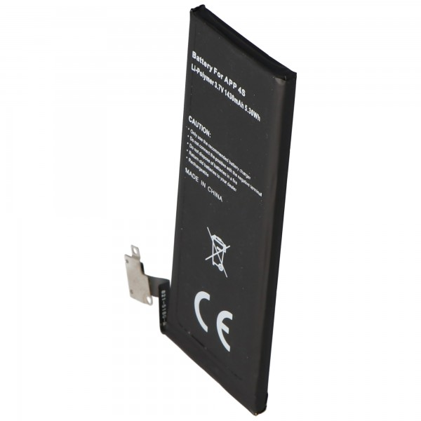 AccuCell batteri passer til Apple iPhone 4S batteri, 616-0579, GB-S10-423282-0100 type. 1440mAh, 5.3Wh, maks. 1450mAh