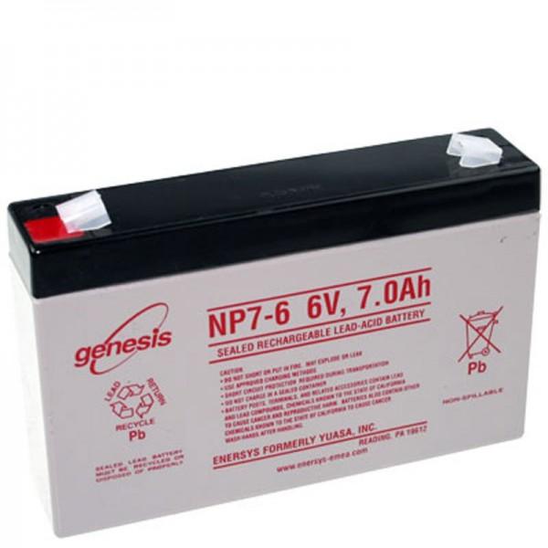 Hawker Enersys Genesis NP7-6 Bly Batteri 6 Volt 7000mAh