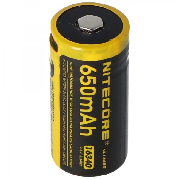 Nitecore Li-Ion batteritype 16340 - 650mAH - NL1665R