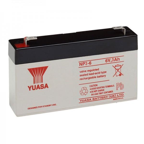 Yuasa NP3-6 Batterilad PB 6 Volt 3Ah Faston 4.8mm