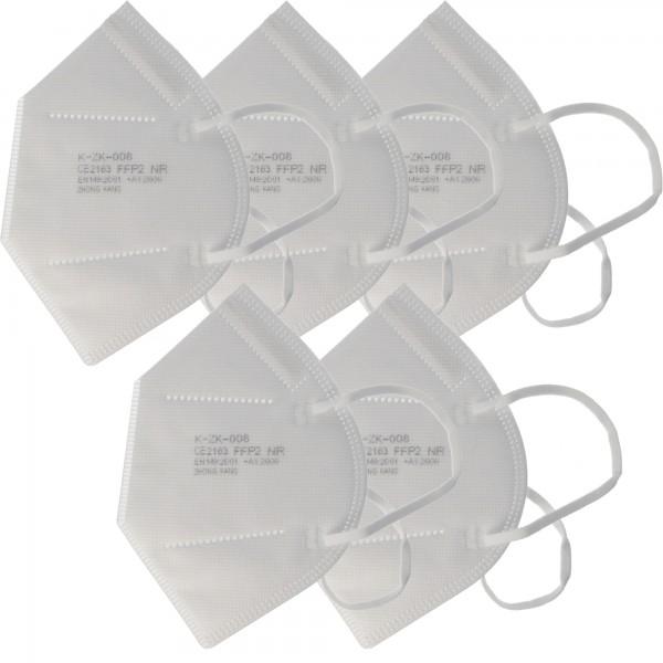 5 stk Premium FFP2 maske latexfri 7-lags uden ventil, ugepakke, certificeret i henhold til DIN EN149: 2001 + A1: 2009, partikelfiltrering halvmaske, FFP2 beskyttelsesmaske