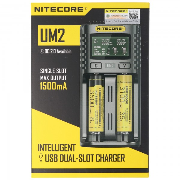 Nitecore UM2 USB Charger QC 2.0 kompatibel med Li-Ion batterier