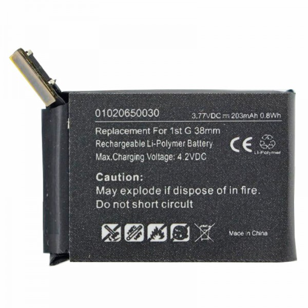 Batteri passer til Apple iWatch 38mm Li-Polymer batteri A1578, A1553, iWatch 1st G 38mm, 3.8V 203mAh med 0.8Wh