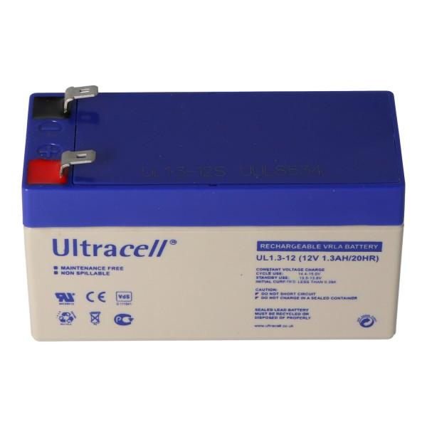 UL1.3-12 Ultracell Bly Batteri 12 Volt, 1.3Ah med 2 Faston 4.8mm Kontakter