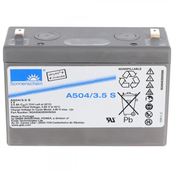 Sunshine Dryfit A504 / 3.5S PB blybatteri tilslutning 4.8mm