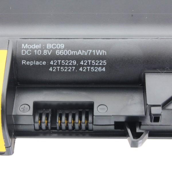 Batteri til Lenovo Thinkpad R61 Serie, R500 Serie, T61 Serie 6600mAh (sørg for at sammenligne dette billede)