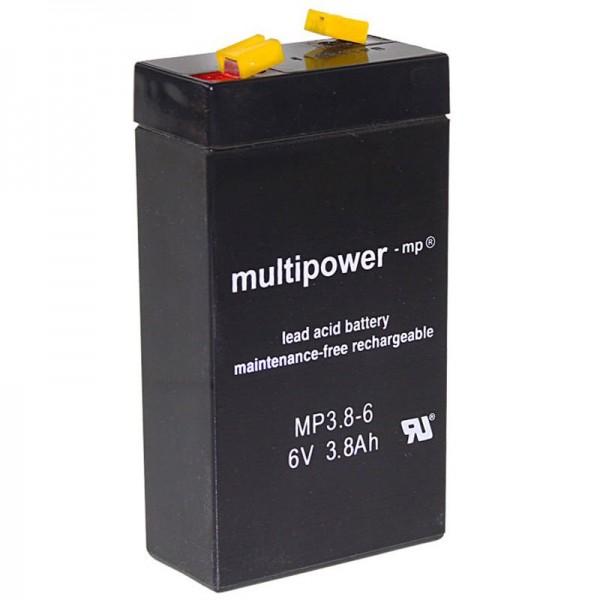 Multipower MP3.8-6 genopladeligt batteri WP3.2-6 bly 3.8Ah med 4,8mm faston kontakt