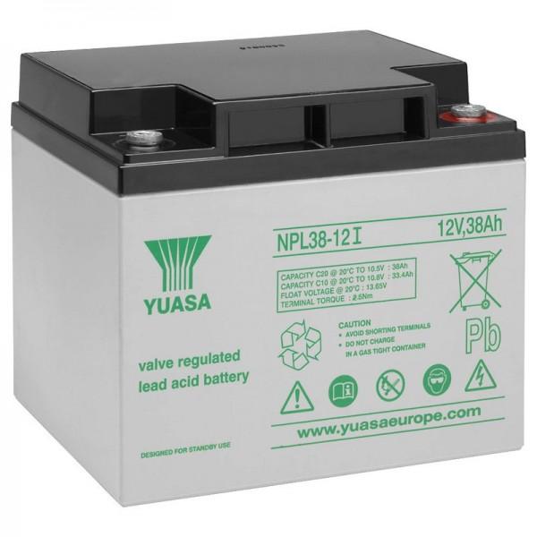 Yuasa NPL38-12I blybatteri 12 volt, 38Ah med M5-tilslutning