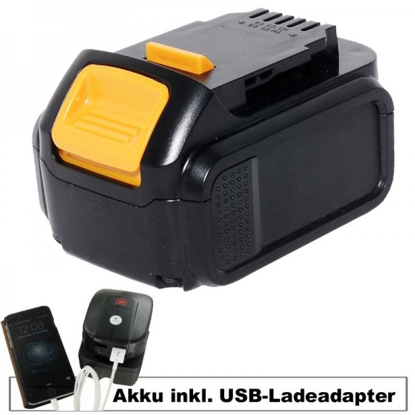 Batteri og USB opladning adapter egnet til Dewalt batteri DCB140, DCB141-XJ, DCB143-XJ, DCB145