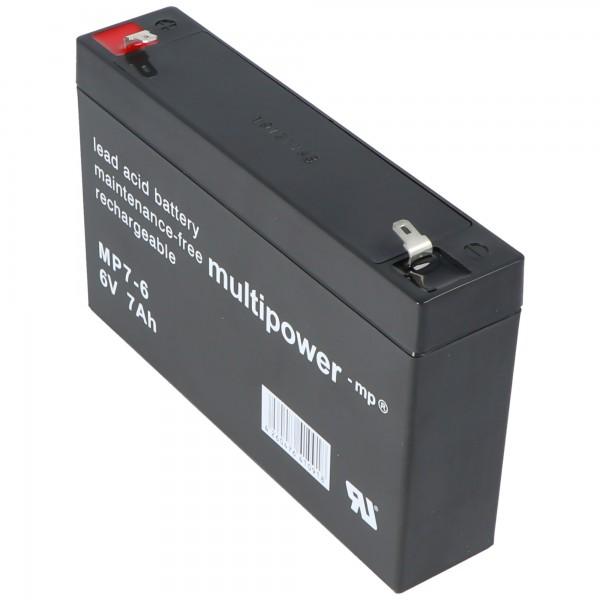 Multipower MP7-6 Bly Batteri 6 Volt, 7000mAh med Faston 4.8mm
