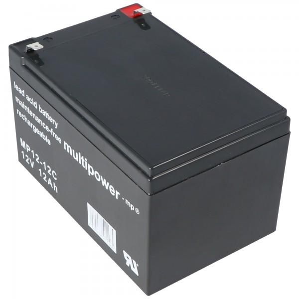 Multipower MP12-12C Blybatteri 12 Volt 12Ah Cykeltæt, Cyklus