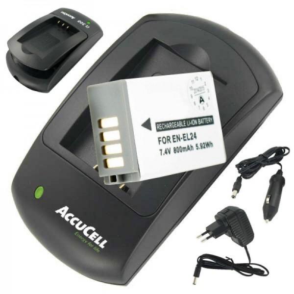 Batteri og oplader egnet til EN-EL24 batteri til Nikon 1 J5 økonomipris