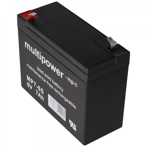 Multipower MP7-6S egnet til solskin A206 / 6.5S batteri, men med lidt forskellige kontakter