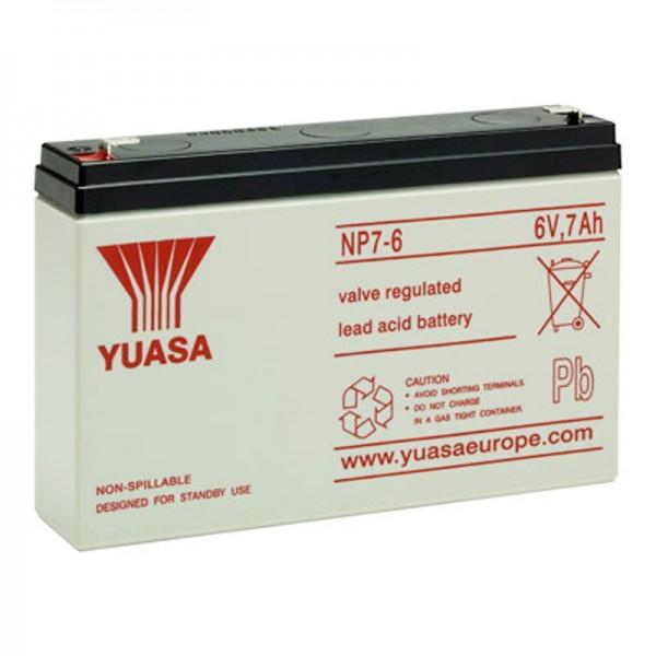 Yuasa NP7-6 Batterilad PB 6 Volt 7Ah Faston 4.8mm