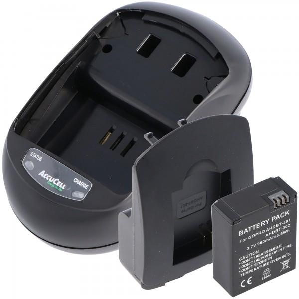 Oplader og udskifteligt batteri passer til Go Pro HD Hero 3, AHDBT-201, AHDBT-301