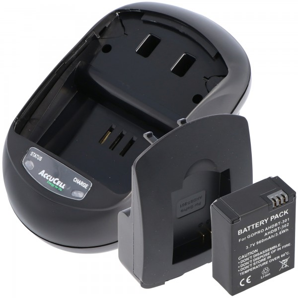 Opladningssæt og replik batteri passer til Go Pro HD Hero 3, AHDBT-201, AHDBT-301