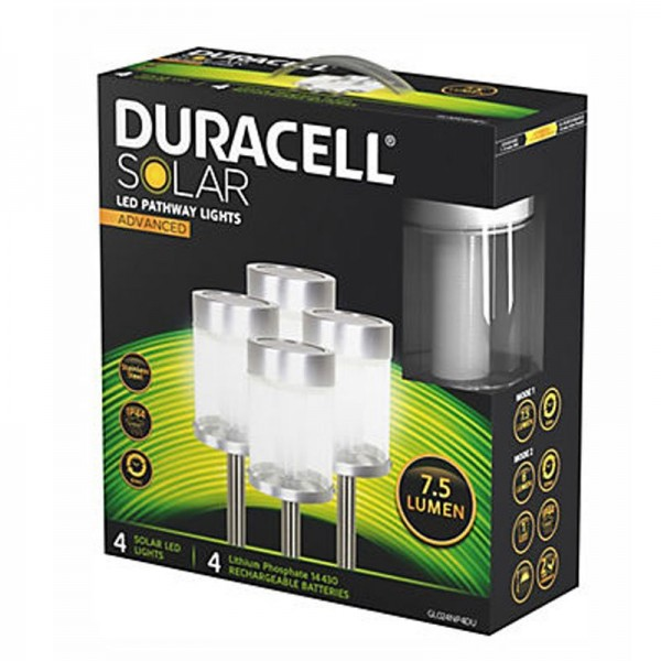 Sæt med 4 Duracell LED solstråle lys med op til 7,5 lumen, rustfrit stål, med lithium batteri