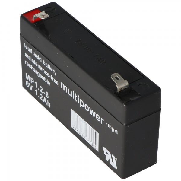 Multipower MP1.2-6 batteri PB ledning, 6 volt 1200mAh, tilslutning 4.8