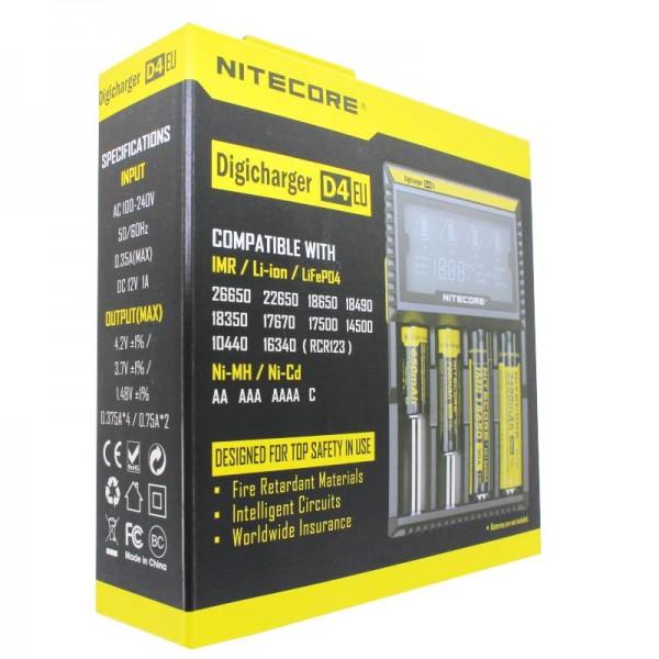 NiteCore oplader Digicharger D4 EU med display til AAA, AA, C