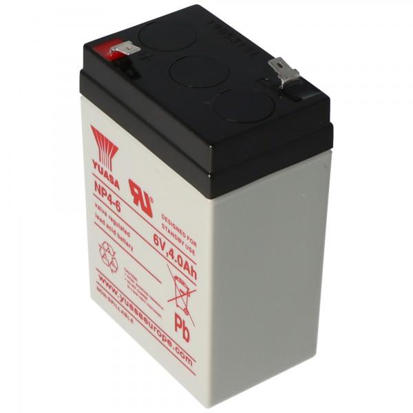 Yuasa NP4-6 Batterilad PB 6 Volt 4Ah Faston 4.8mm
